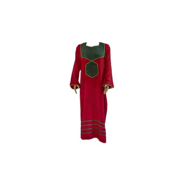 Arab Jilbab Kaftan in burgundy with applique