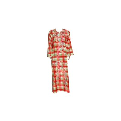 Arab Jilbab Kaftan in Red with check pattern