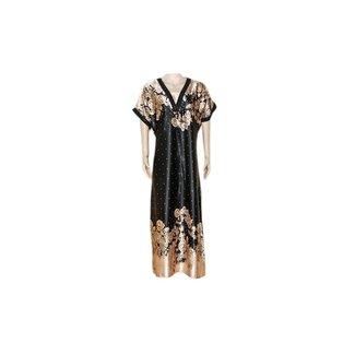 Satin Kaftan Black - Short Sleeve
