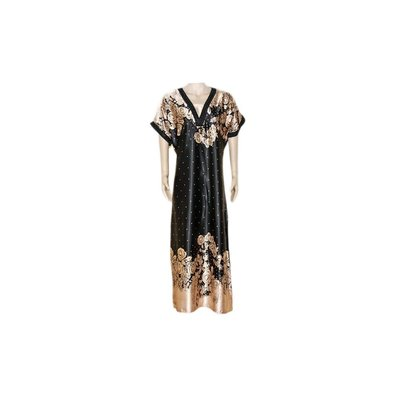 Djellaba Kaftan for Women in Black - Short Sleeve