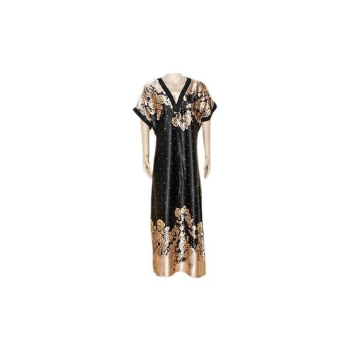 Satin Kaftan Black - Short Sleeve
