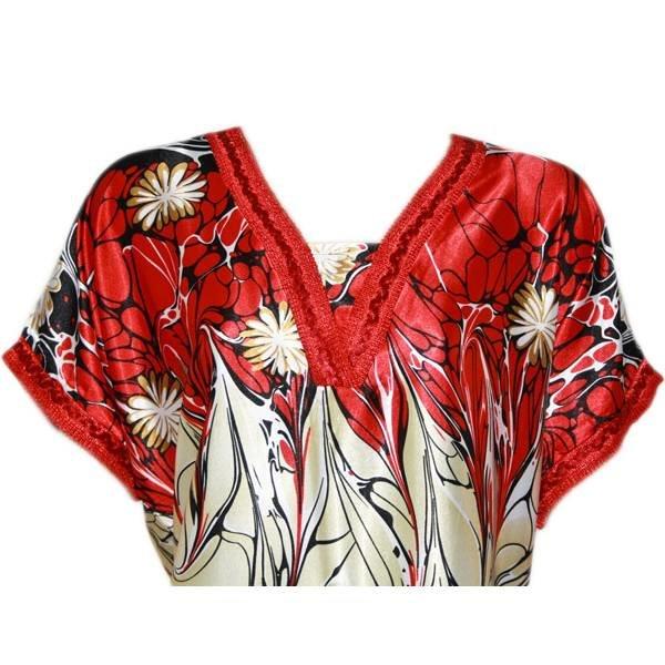 Djellaba Kaftan für Damen in Rot - Kurzarm