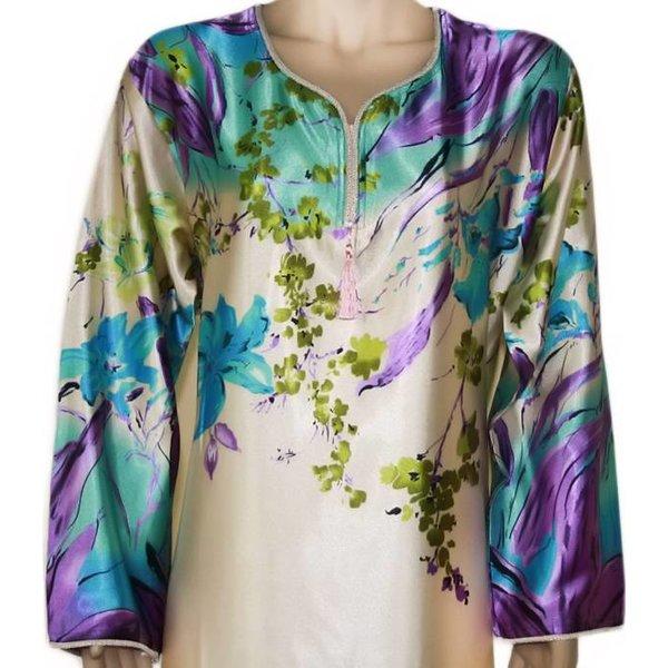 Djellaba Kaftan für Damen in Türkis-Violett