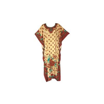 Arabisches Kaftan Kleid mit Schal für Damen - Kurzarm