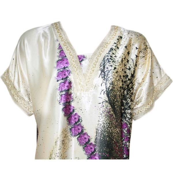 jilbab kaftan mit lila bl tenmuster arabisches djellaba kleid f r frauen oriental style. Black Bedroom Furniture Sets. Home Design Ideas