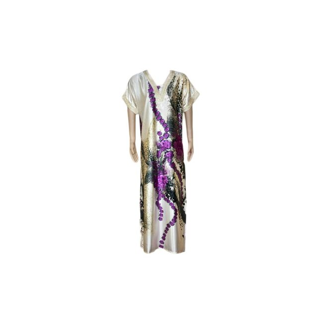 Satin Kaftan Purple - Short Sleeve