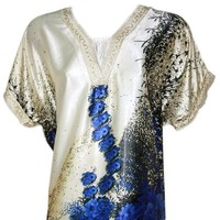 Djellaba Kaftan für Damen in Blau - Kurzarm
