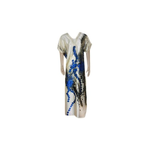 Satin Kaftan Blue - Short Sleeve