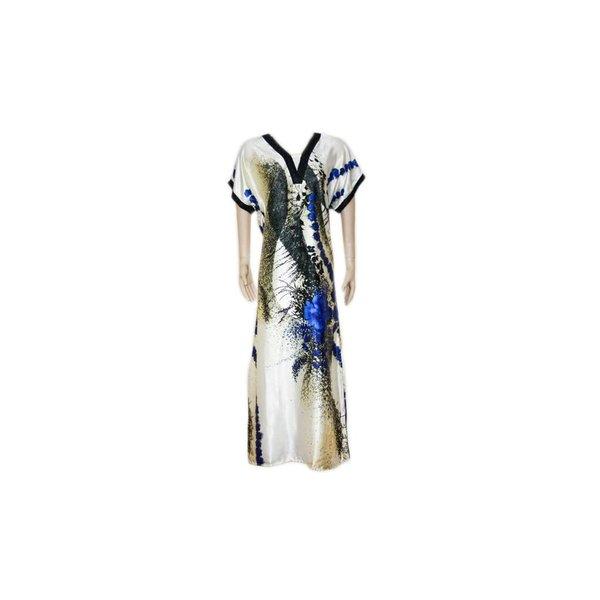 Djellaba Kaftan for Women in Blue - Short Sleeve