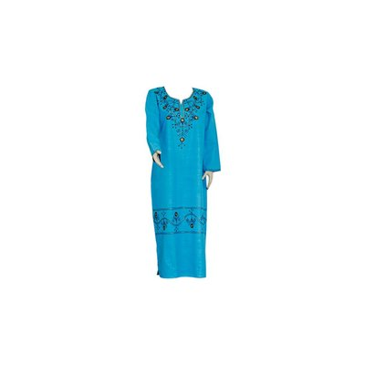 Djellaba kaftan for ladies in turquoise with embroidery