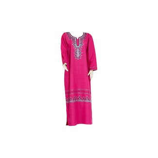 Pinker Jilbab kaftan with embroidery