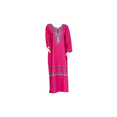 Pinker Jilbab kaftan with embroidery