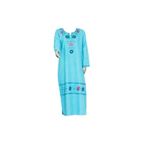 Light blue jilbab caftan with embroidery