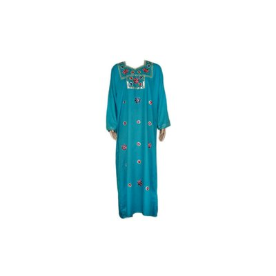 Djellaba Kaftan für Damen in Türkis mit Stickerei