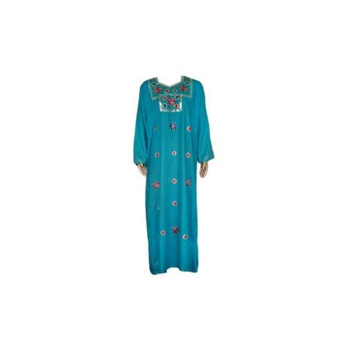 Turquoise Jilbab kaftan with embroidery