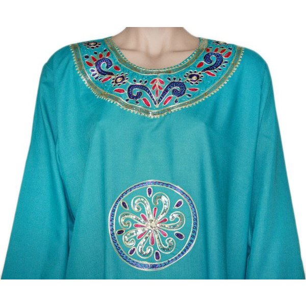 Djellaba kaftan for ladies in turquoise blue with embroidery