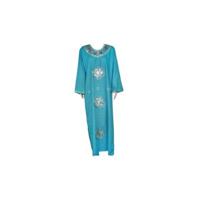 Djellaba Kaftan für Damen in Türkisblau mit Stickerei