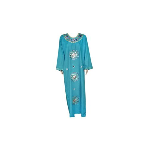 Turquoise Blue Jilbab kaftan with embroidery