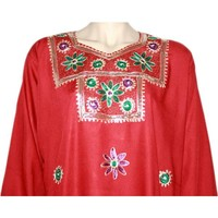 Djellaba Kaftan für Damen in Rot mit Stickerei