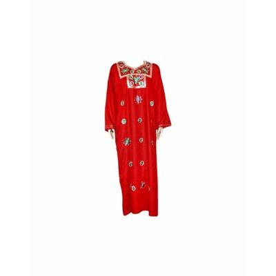 Djellaba Kaftan für Damen in Rot mit Stickerei