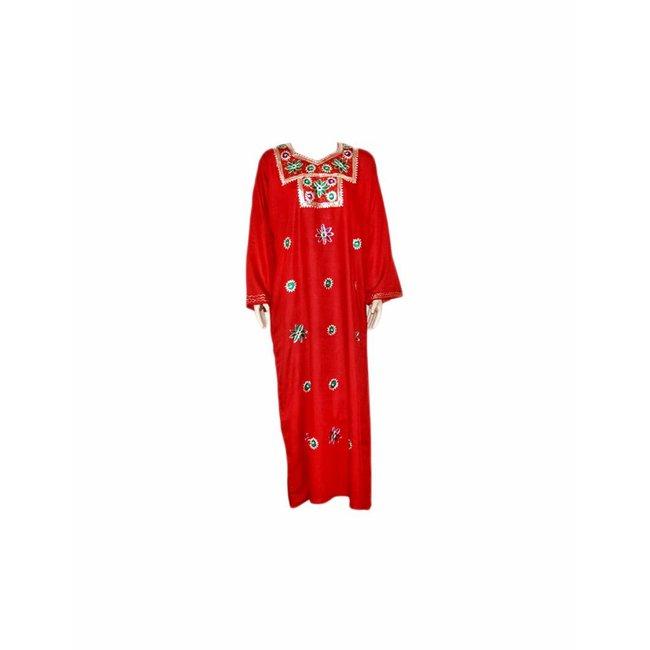 Roter Jilbab-Kaftan mit Stickerei