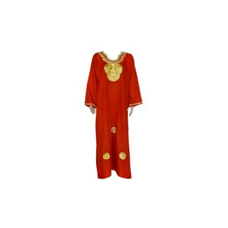 Red Jilbab kaftan with gold embroidery