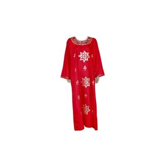 Pink Red Jilbab kaftan with embroidery