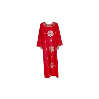 Djellaba kaftan for ladies in Pinkrot with embroidery