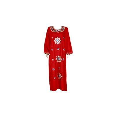 Djellaba kaftan for ladies in dark red with embroidery