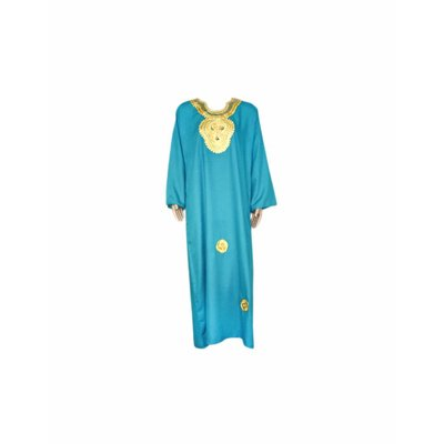 Djellaba kaftan for ladies in turquoise with gold embroidery