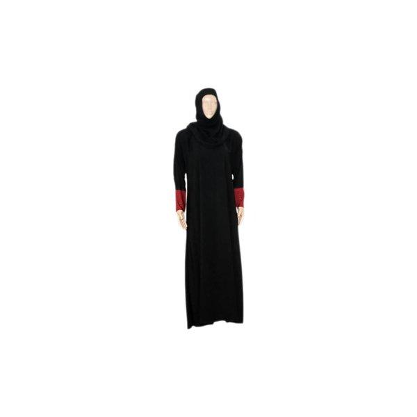 Abayah Mantel Schwarz-Dunkelrot mit Schal