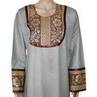 Jilbab kaftan for ladies with applications - Light Grey