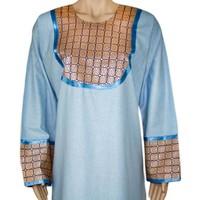Jilbab kaftan for ladies with applications - Light Blue