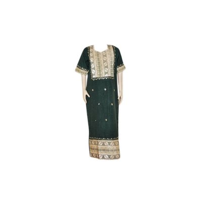 Jilbab Kaftan für Damen mit Applikationen - Dunkelgrün