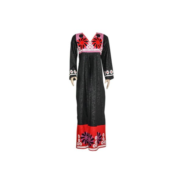 Arab Jilbab kaftan in black with colorful embroidery