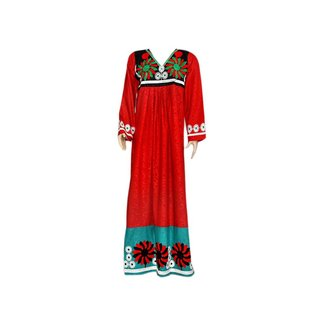 Embroidered Arab Kaftan Dress in Red