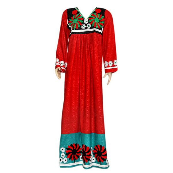 Arab Jilbab Kaftan in Red with colorful embroidery