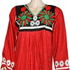 Arabischer Jilbab-Kaftan in Rot mit bunter Stickerei