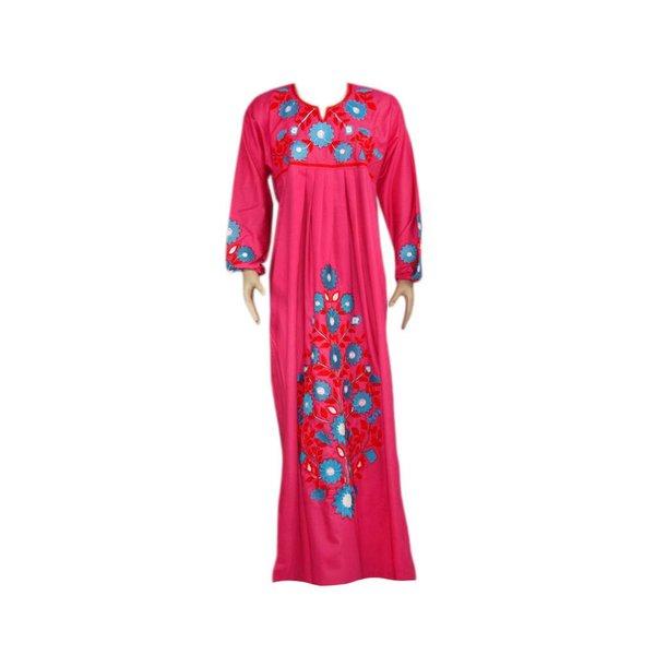 Arabischer Jilbab-Kaftan in Pink mit Stickerei