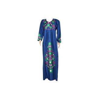 Embroidered Arab Caftan Dress in Indigo Blue
