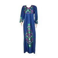 Arab Jilbab kaftan in indigo blue with embroidery