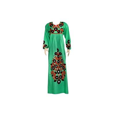 Arab Jilbab Kaftan in Green with Embroidery