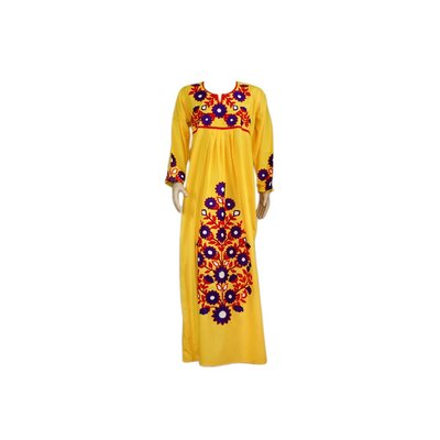 Arab Jilbab Kaftan in Yellow with Embroidery
