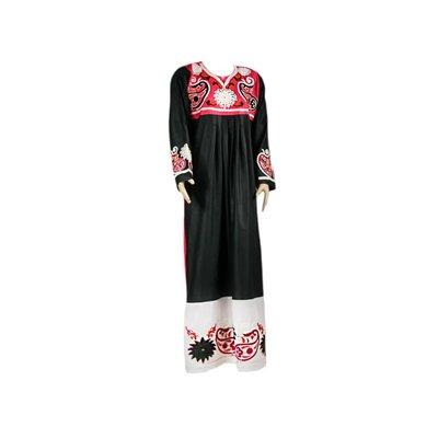 Arabischer Jilbab-Kaftan - Zweifarbig mit bunter Stickerei