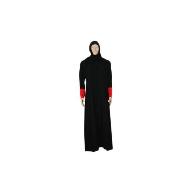 Abayah Mantel Schwarz-Rot mit Schal