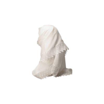 White scarf with lace - triangular scarf Hijab
