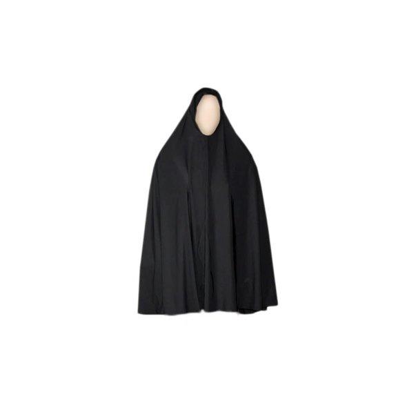 Großer Khimar Hijab in Schwarz - Elastisch
