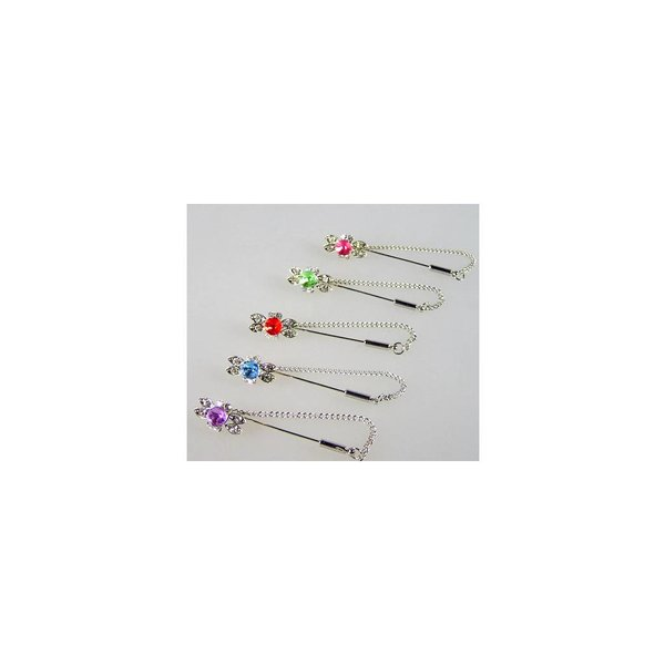 Scarf pin with rhinestones - loop, available in various colors