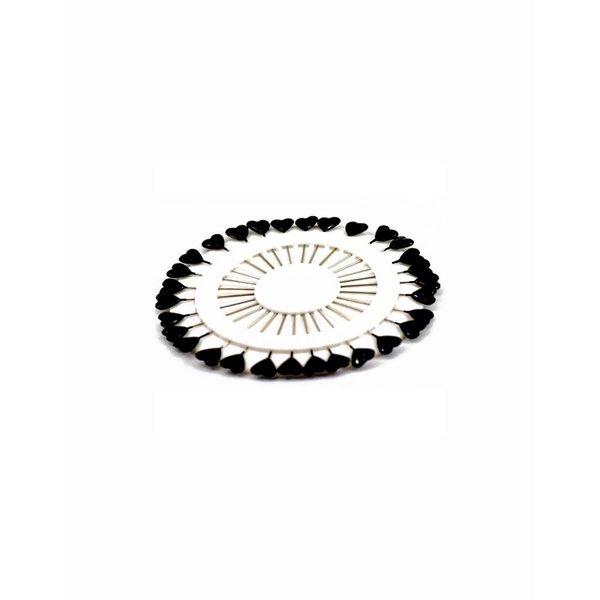 Headscarf needle set Heart in Black