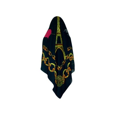 Quadratisches Kopftuch in Grüntönen aus Viskose